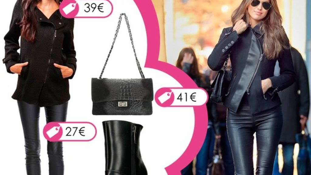 Consigue el look 'total black' de Irina Shayk