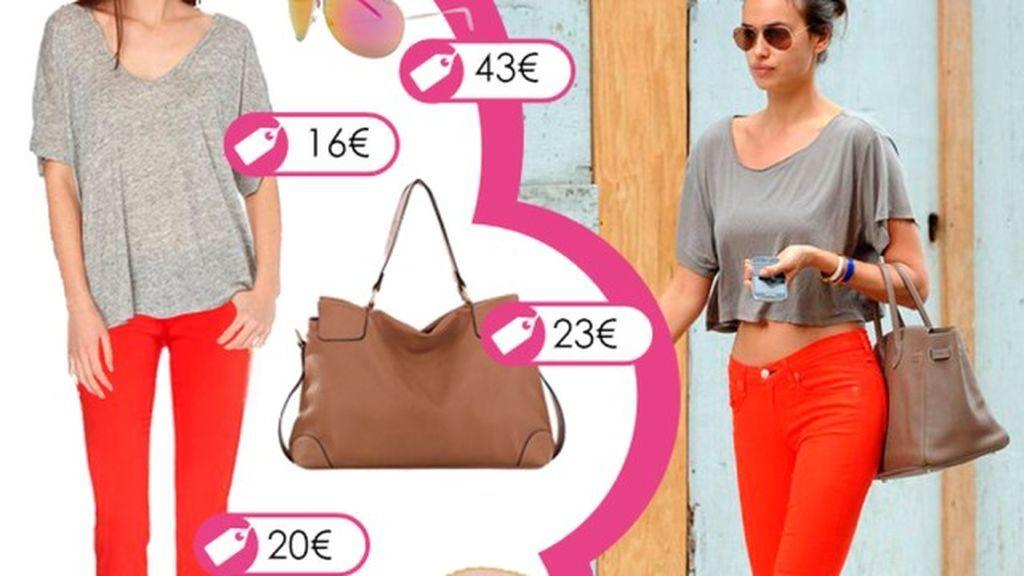 Consigue el look primaveral de Irina Shayk con pantalón capri color vitamina
