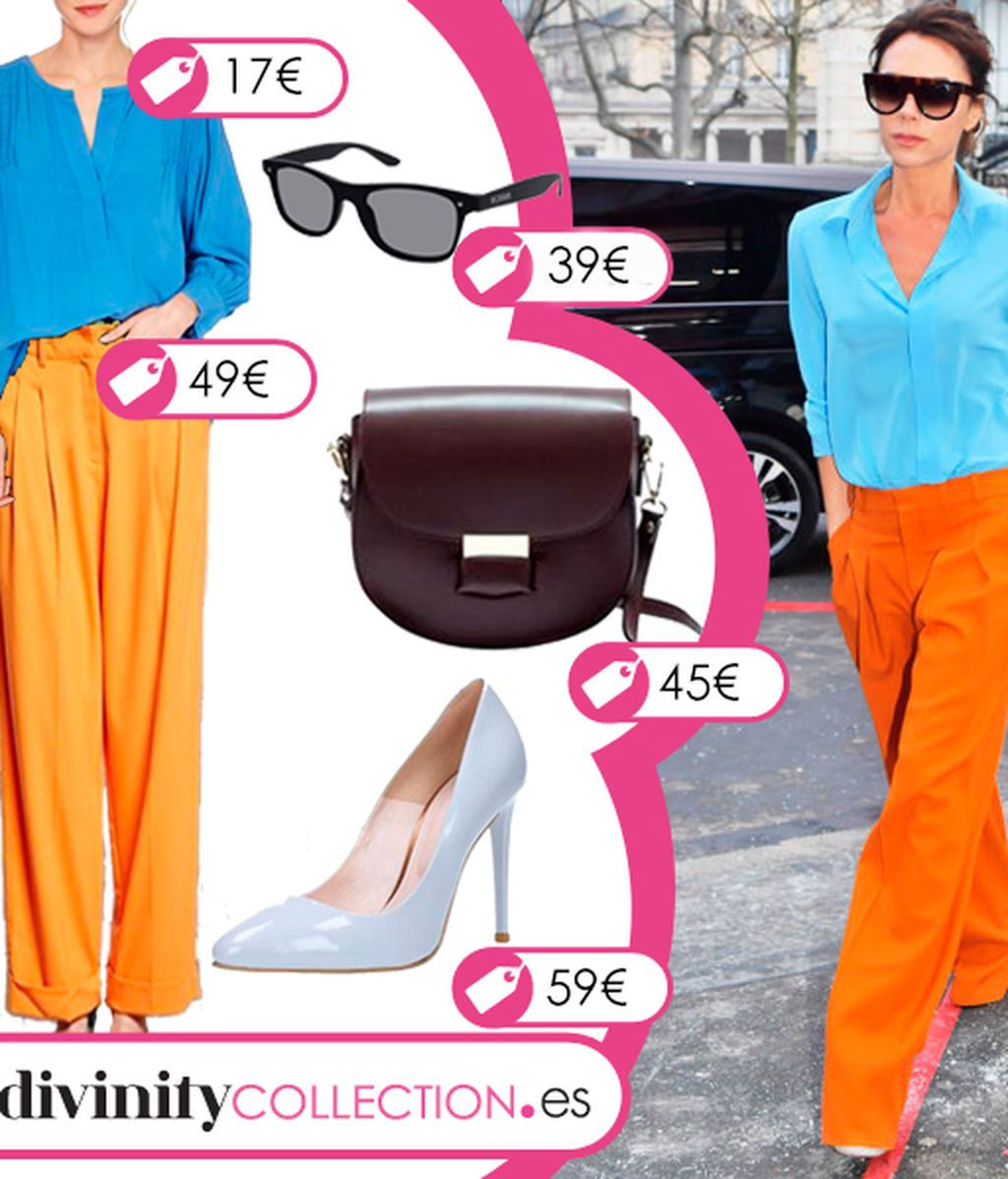 Consigue el look de Victoria Beckham con pantalón naranja y blusa azul