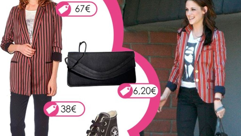 Consigue el look de Kristen Stewart con blazer de rayas y zapatillas Converse