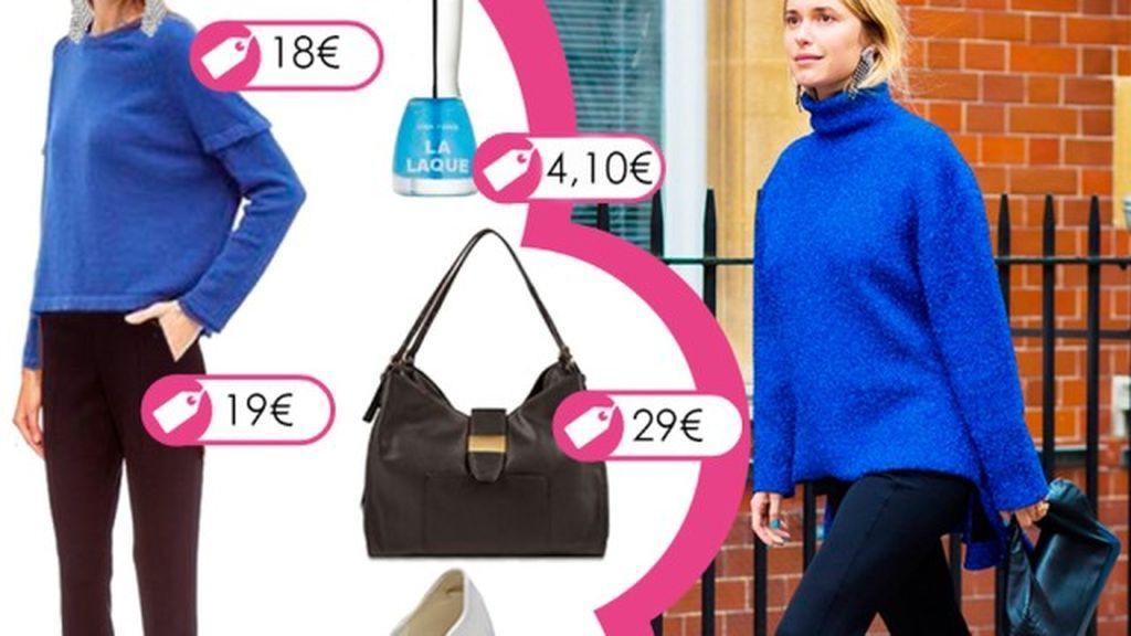 Consigue el look en azul y negro de Pernille Teisbaek con pantalón fuseau