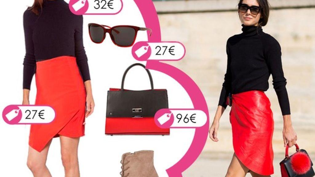Consigue el look de Dileta Bonaiuti en tonos rojos y negros