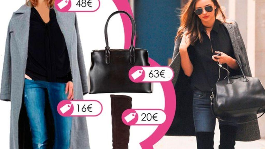 Consigue el look de Miranda Kerr con abrigo de lana gris y botas mosqueteras