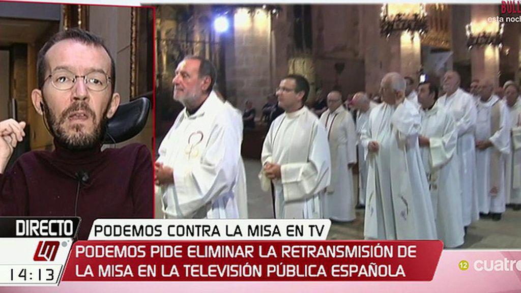 """Echenique: """"La televisión pública no es el lugar para mandar a homosexuales al infierno como hizo el obispo de Alcalá de Henares"""""""