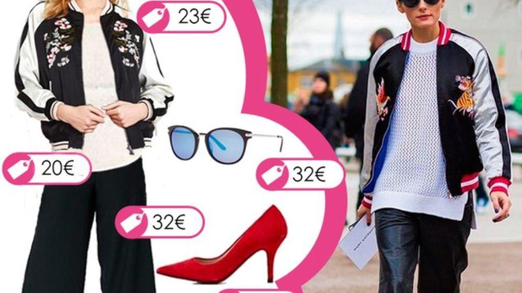 Consigue el look de Olivia Palermo con bomber bordada y pantalón culotte