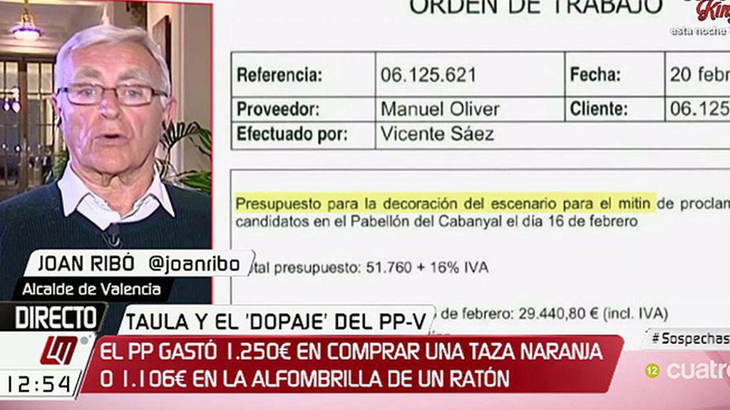 """Joan Ribó, sobre el PP en Valencia: """"No es lo mismo concurrir a elecciones gastando 100.000€ que 3 millones"""""""