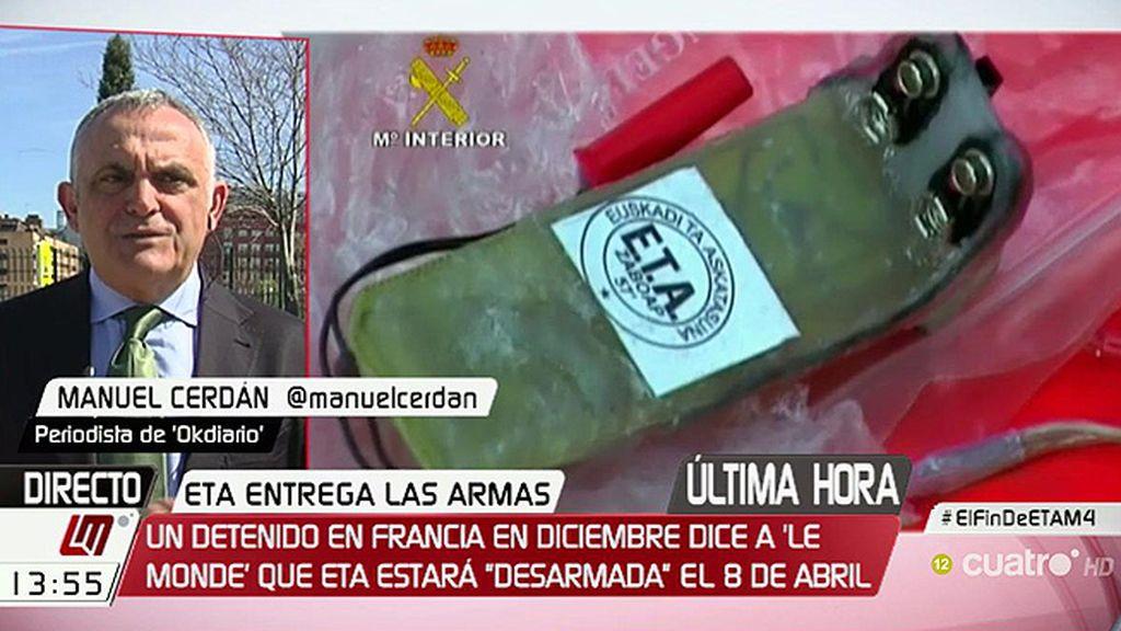 """M. Cerdán, sobre el desarme de ETA: """"Hay muchos flecos"""""""