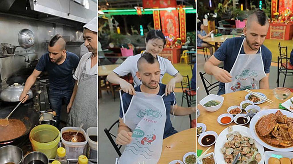 El xef 'se cuela' en una cocina callejera de Singapur... ¡Y se pone las botas!