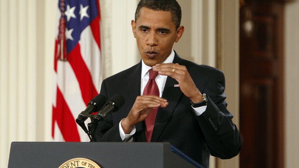 Obama durante la rueda de prensa