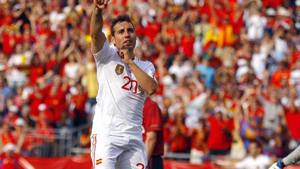 Cazorla celebrando uno de sus goles frente a EEUU