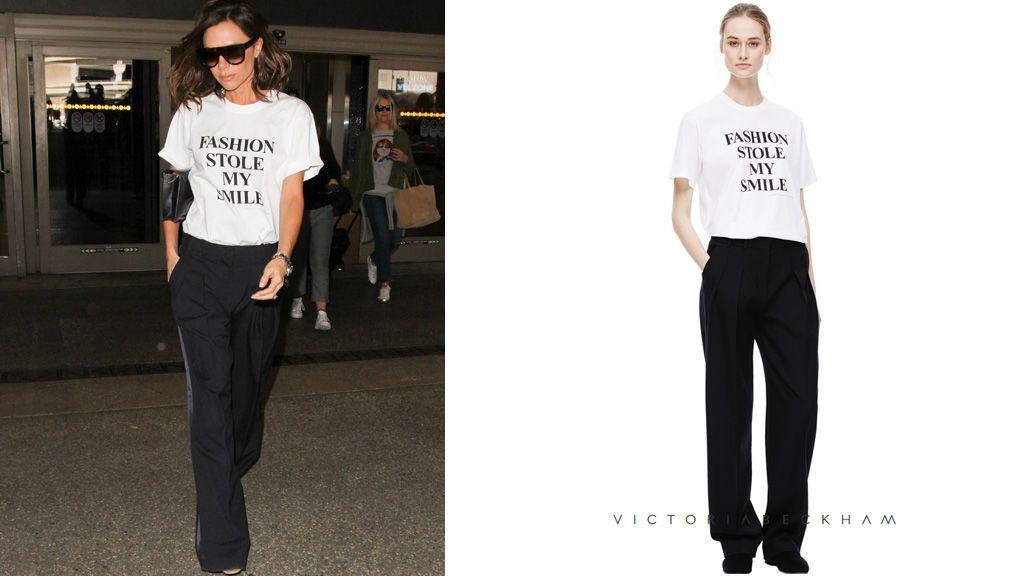 Victoria beckham diseño camiseta moda robo sonrisa