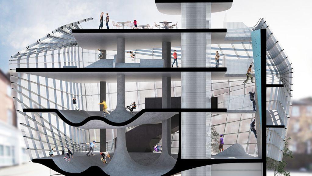 El sueño de todo skater: un edificio de cinco plantas para poder patinar