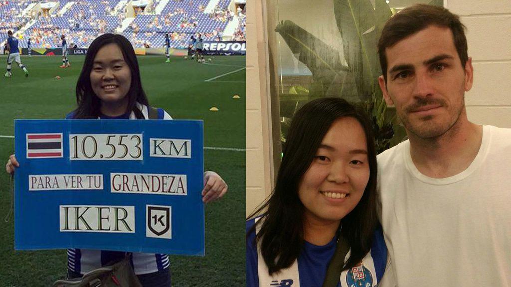 La mayor fan de Casillas: viaja diez mil kilómetros desde Tailandia para abrazarle