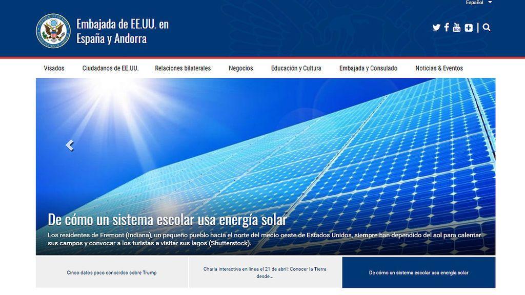 Las renovables, protagonistas de la nueva web de la embajada de EEUU en España