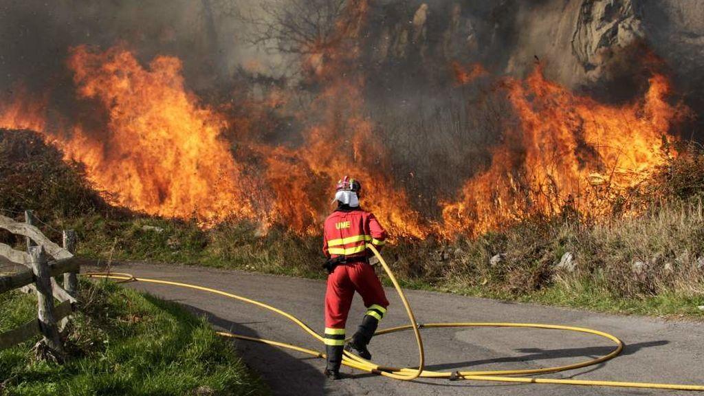 Un total de 19 incendios forestales permanecen activos en Asturias