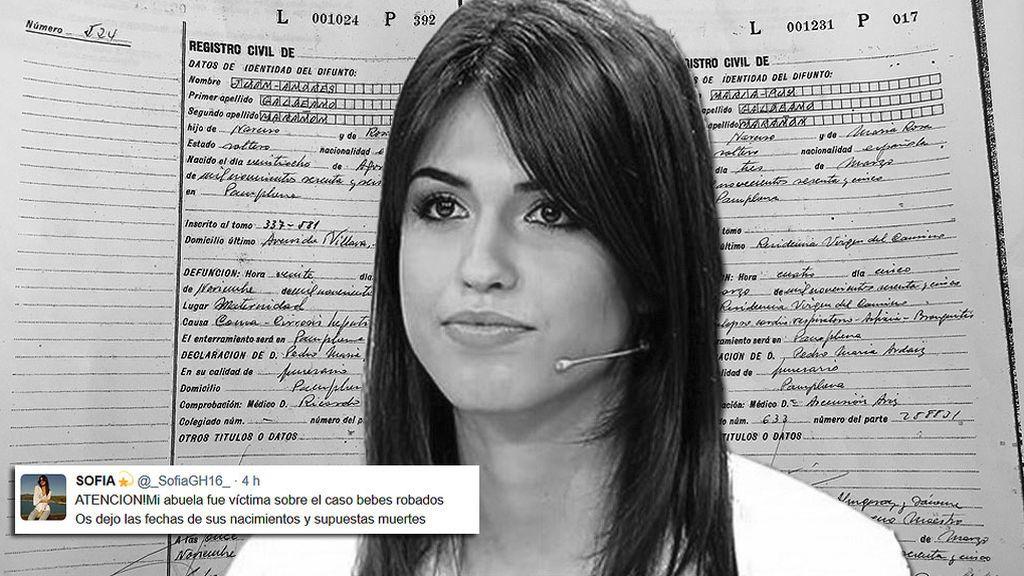 """Sofía necesita vuestra ayuda: """"Mi abuela fue víctima de los casos de bebé robados"""""""