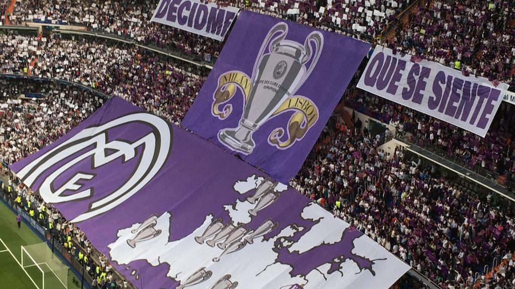 El tifo del Bernabéu: recordando Milán y Lisboa ante el Atlético de Madrid