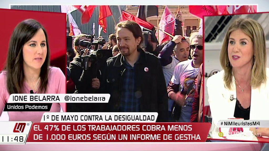 """I. Belarra, a Ana Mestre:  """"Mientras se iban 90.000 millones  en fraude y corrupción, estabais recortando derechos de los trabajadores"""""""