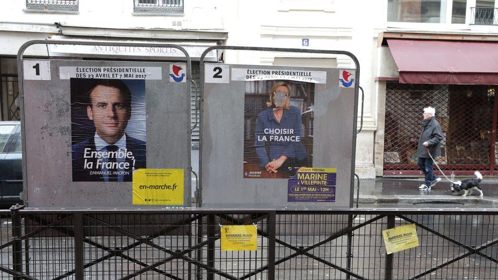 Marine Le Pen y Emmanuel Macron luchan por la presidencia