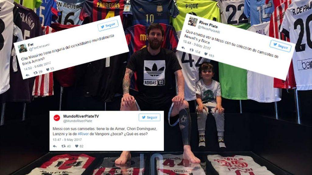 Los fans de River se cachondean de que Messi no tenga ninguna camiseta de Boca