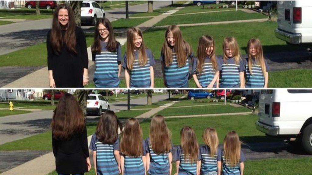 La emocionante razón por la que una madre y sus seis hijos dejaron crecer su pelo