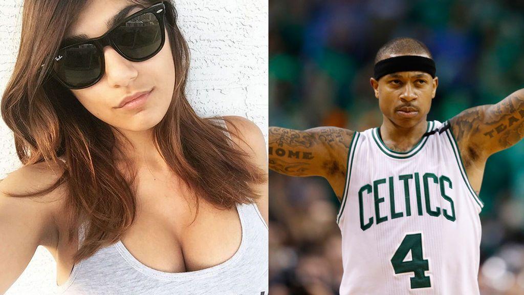 """El trolleo de la actriz porno Mia Khalifa a Isaiah Thomas: """"Te dejaré tocarme los pechos si llegas"""""""