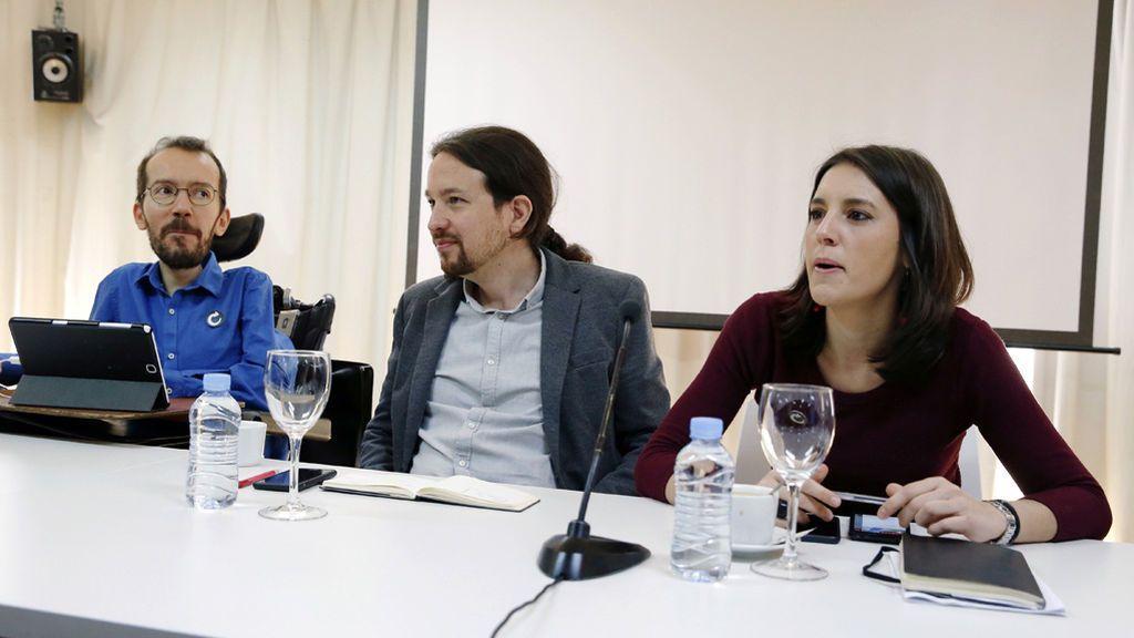 Pablo Iglesias, Pablo Echenique e Irene Montero en el Consejo Ciudadano Estatal del Partido