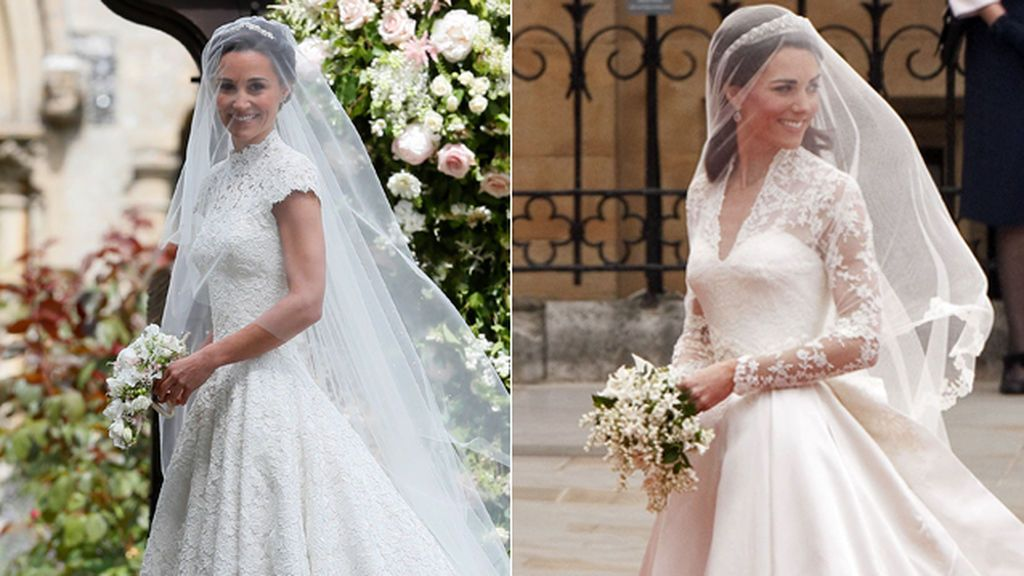 Tres diferencias y una similitud de los vestidos de novia de Pippa y Kate Middleton
