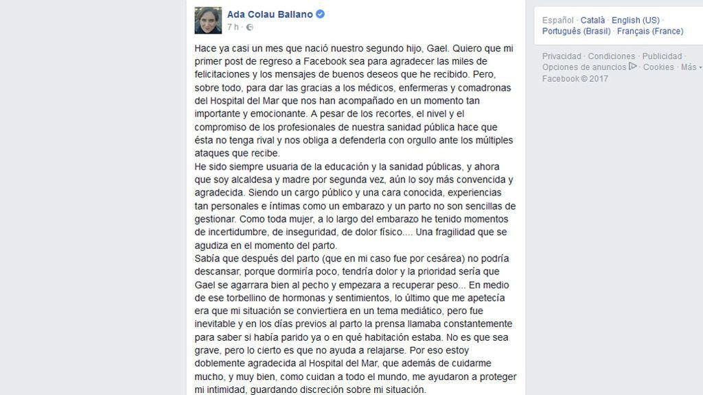 Mensaje Facebook Ada Colau