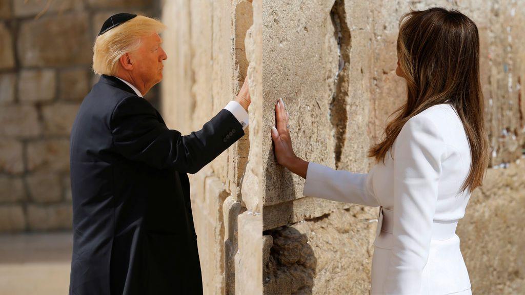 Trump, primer presidente de EEUU en el cargo que visita el Muro de las Lamentaciones