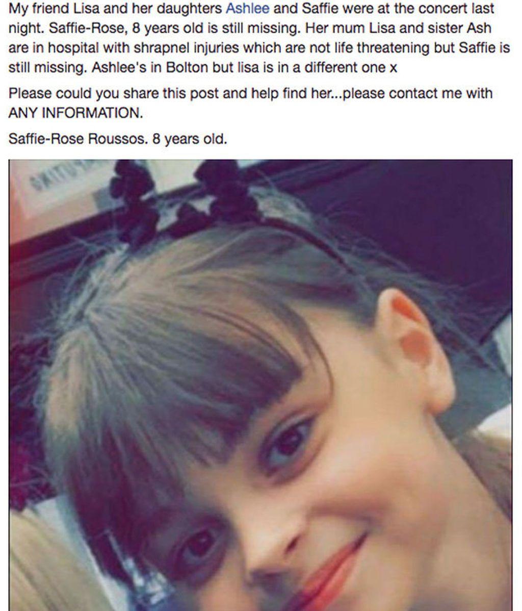 Saffie-Rose, desaparecida en el atentado de Manchester