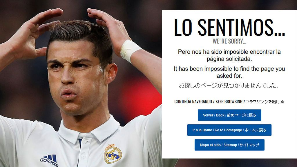 ¡El error 404 de la web del Madrid mola y lo sabes! Cristiano 'flipa' cada vez que te equivocas