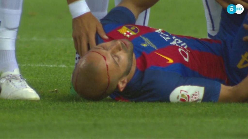 Brutal golpe entre Mascherano y Marcos Llorente que deja al argentino sangrando y fuera de la Final