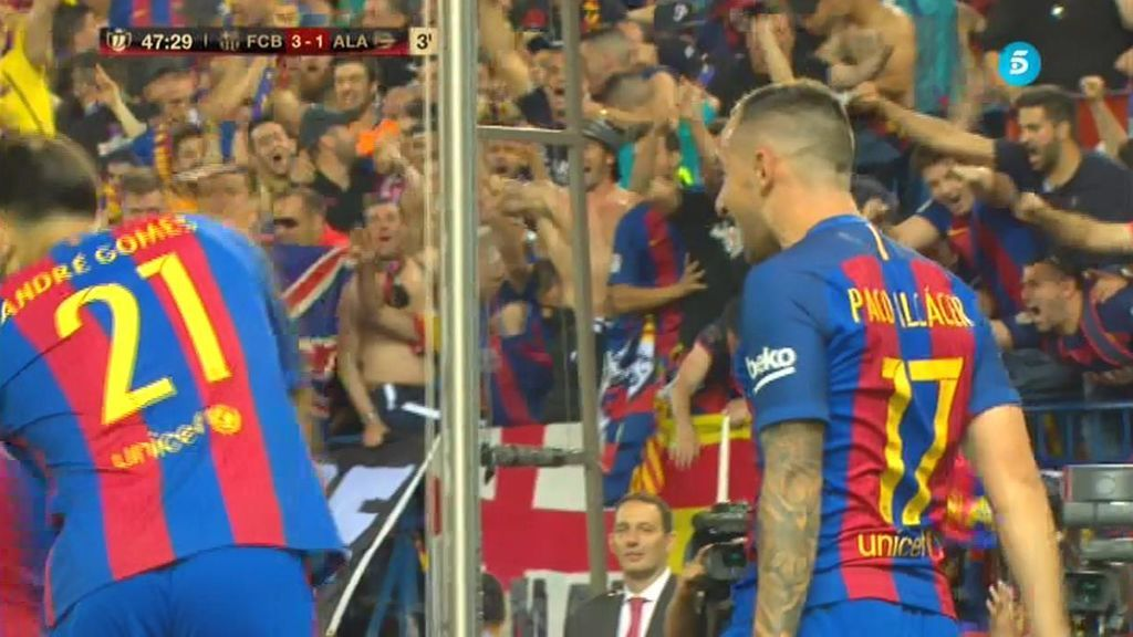 Jugadón de Messi para que Paco Alcácer encarrile la final antes del descanso (3-1)