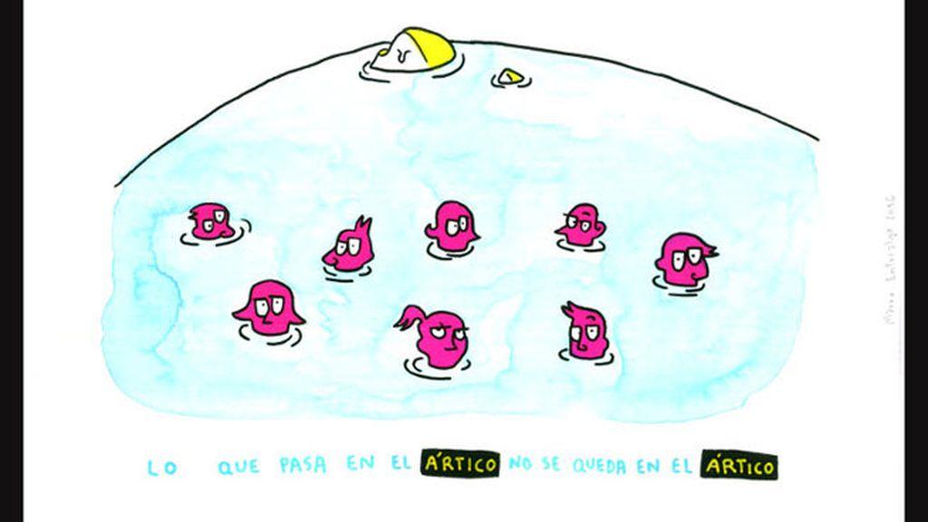 Mauro Entrialgo compara el Ártico con una piscina en su dibujo