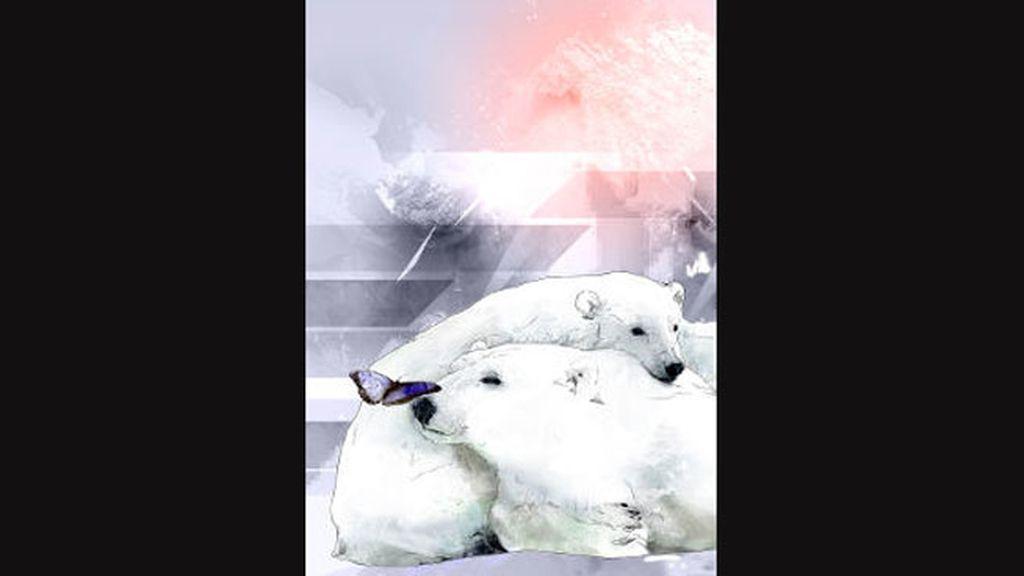Robert Tirado mezcla tonalidades frías y cálidas con la ternura de dos osos polares
