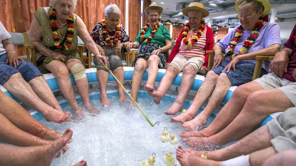 Pescar patitios en piscinas de hielo, claro que sí