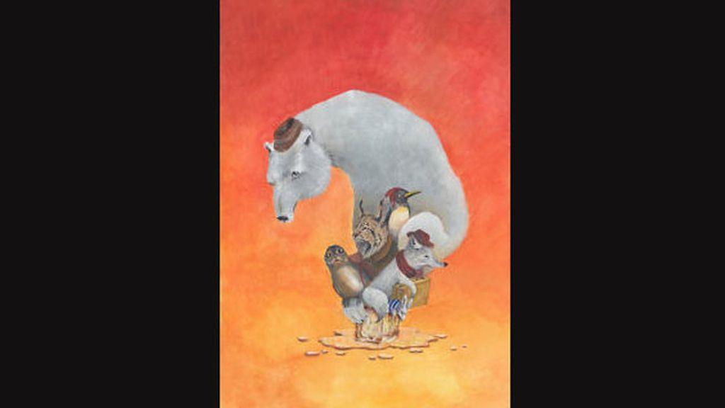 Óscar del Amo, con un dibujo lleno de tonos cálidos y animales en peligro