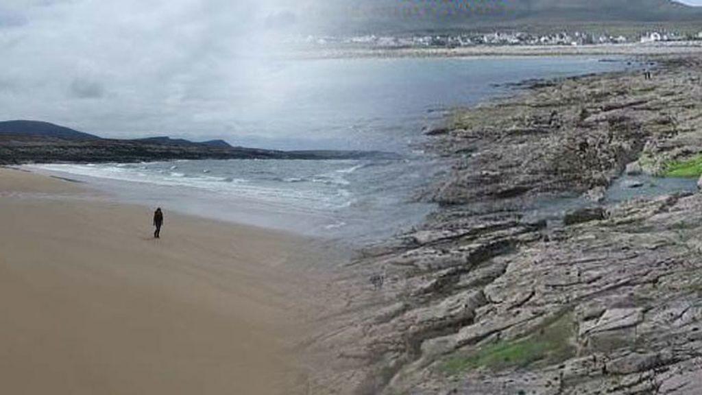 Antes y después de la playa de Irlanda