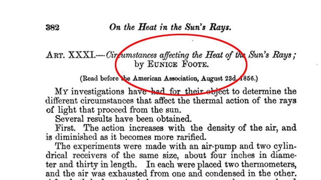 Eunice Foote, la mujer que descubrió el efecto invernadero