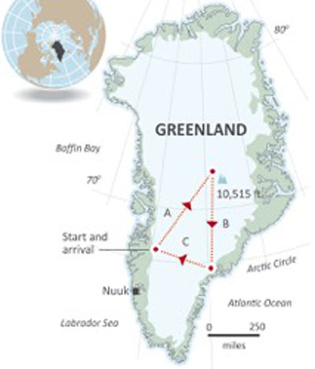 mapa trineo groenlandia