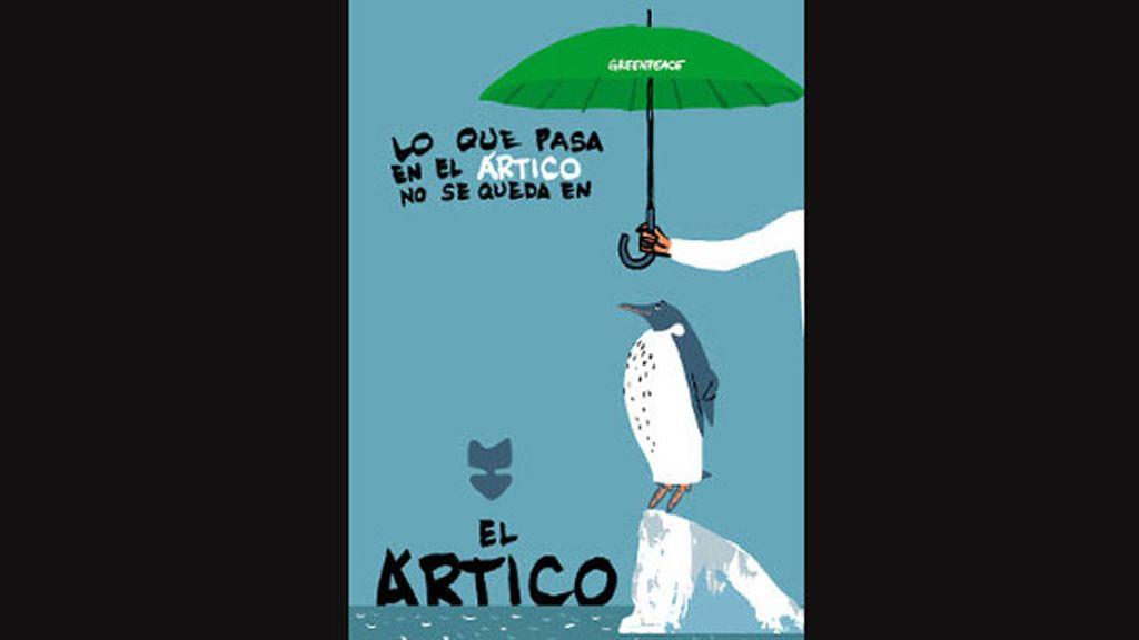 Miguel Gallardo ilustra el descenso del hielo en el Ártico junto al lema de la campaña