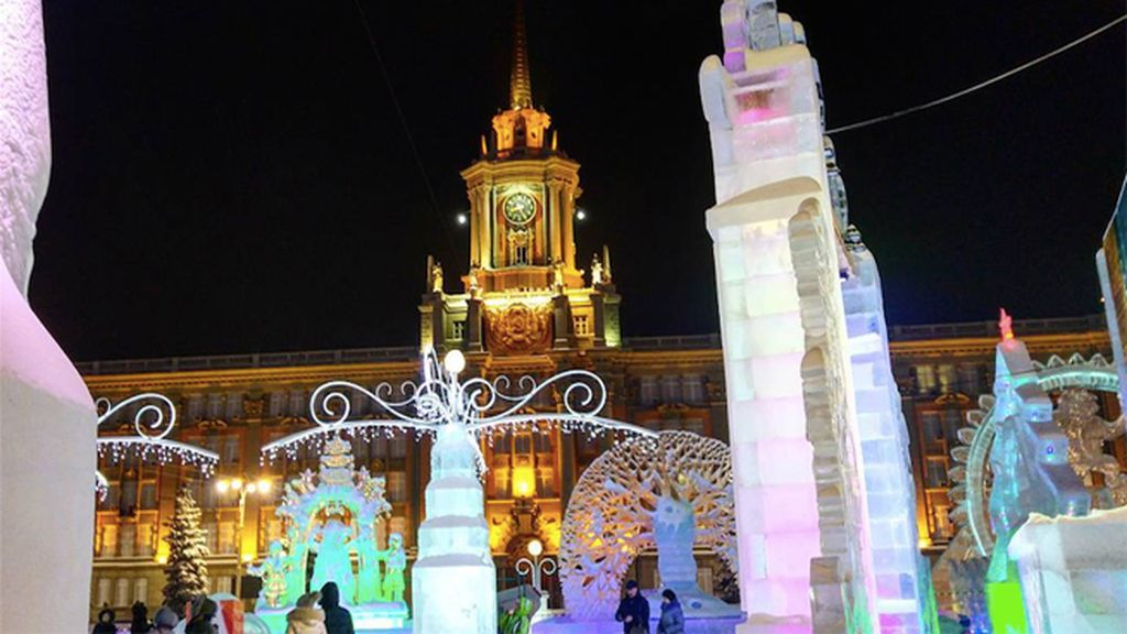 Arquitectura que se mezcla con bloques de hielo
