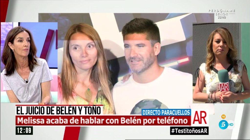 """Melisa, tras hablar con Belén: """"No va a confirmar ni a desmentir que supiera que Toño y Lorena tuvieran que declarar"""""""
