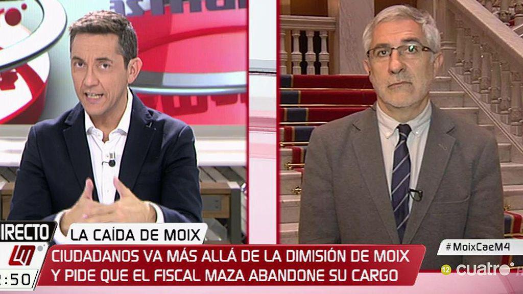 """Llamazares, tras la renuncia de Moix: """"Se intenta un cortafuegos para evitar que la cosa llegue al Fiscal General y al ministro"""""""