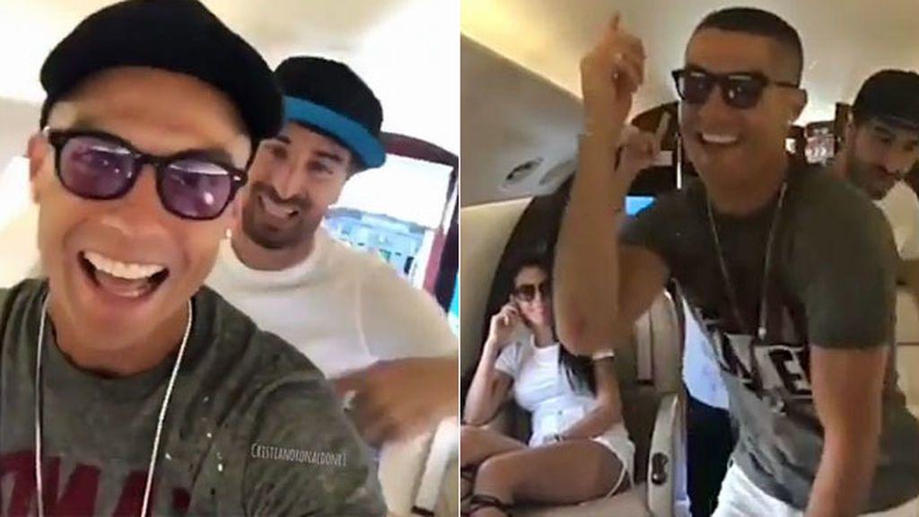 ¡Desatado! Georgina alucina con el bailecito que se marca Cristiano en su avión