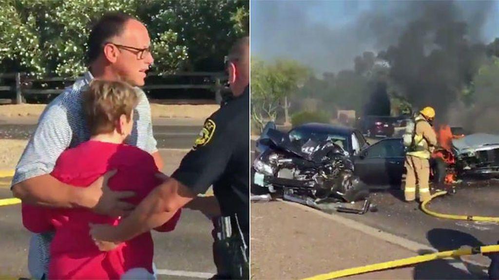 Ex jugador de béisbol y héroe… ¡Arriesga su vida para sacar una mujer de un coche en llamas!
