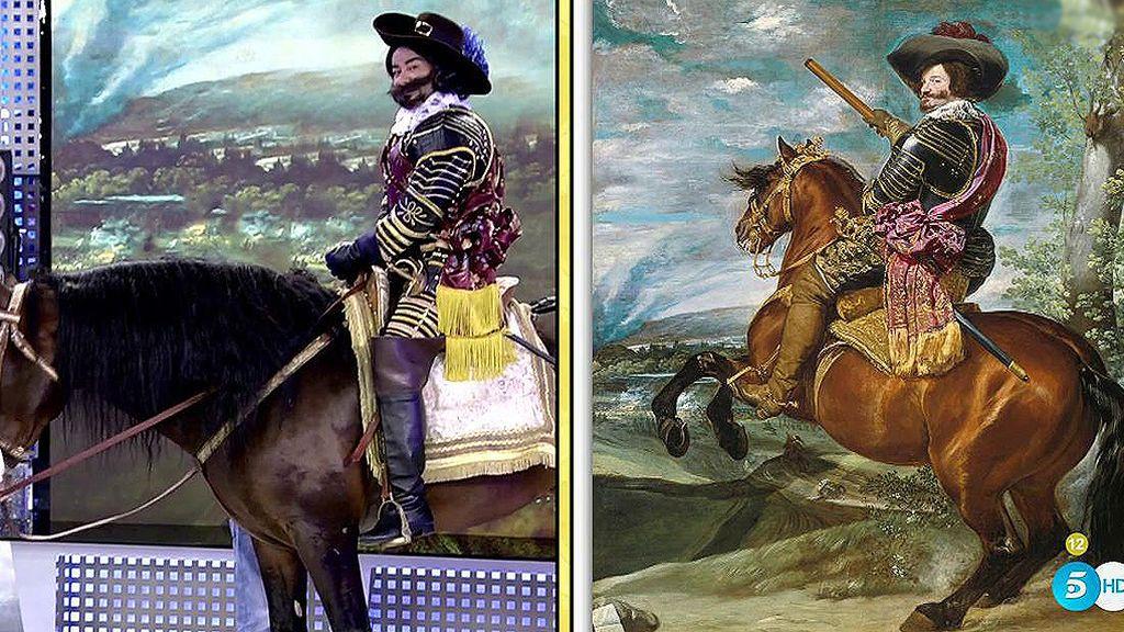 A caballo y con armadura, J.J. se convierte en el Conde-Duque de Olivares
