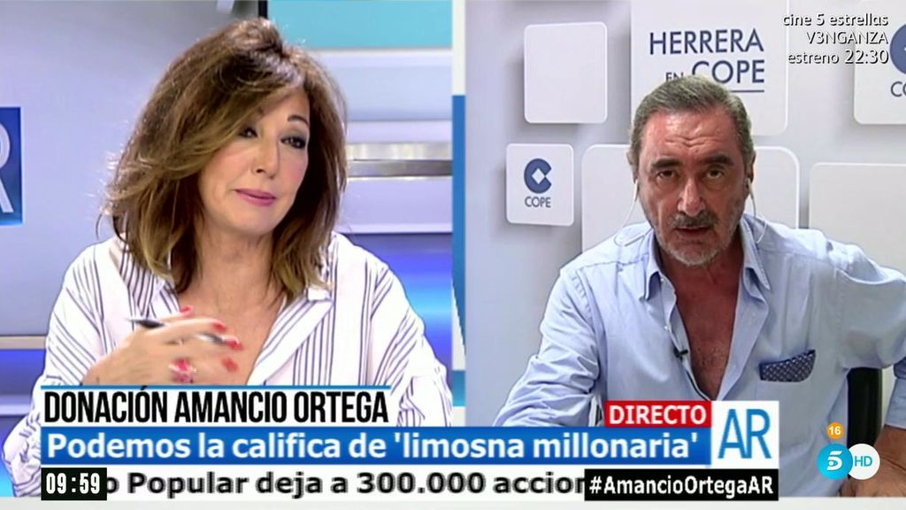 """Carlos Herrera, de las críticas a la donación de Amancio Ortega: """"Demuestran envidia cateta y poca preocupación por los enfermos"""""""