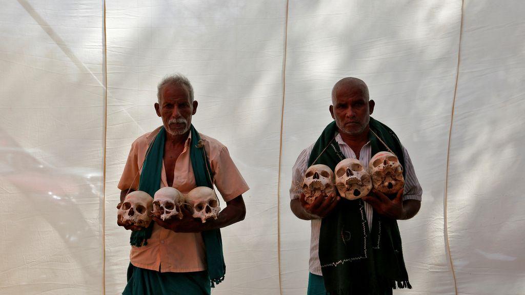Protesta de los agricultores indios por la falta de ayudas